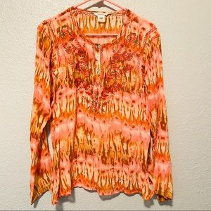 Sundance 100% Silk Embroidered Blouse